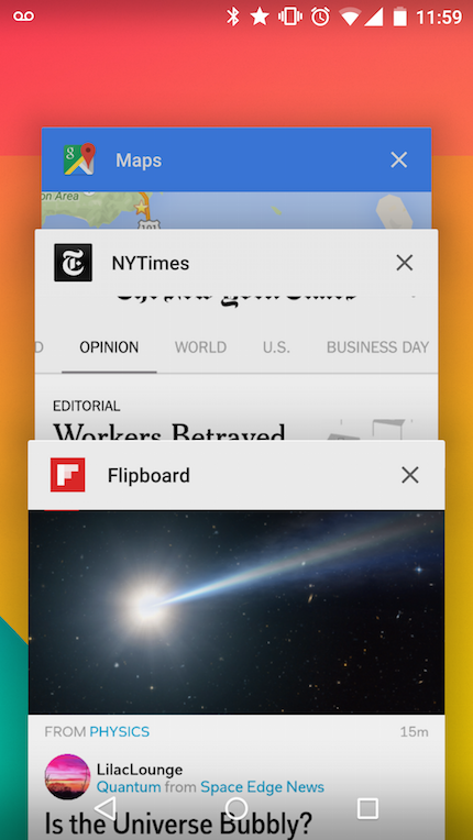 Progressive Apps are top-level activities in the OS's application switcher.